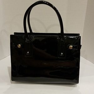 Aldo Black patent leather satchel handbag